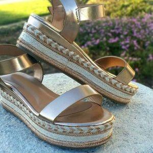 New- Rose Gold Sling Back Espadrille Sandals